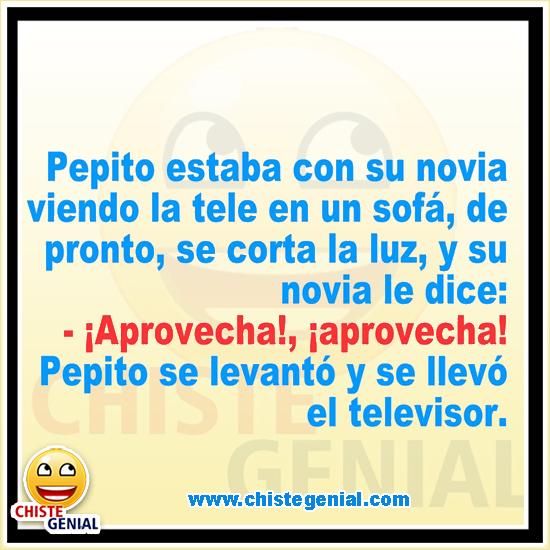 Chistes de Pepito - Pepito estaba con su novia viendo tele en un sofá