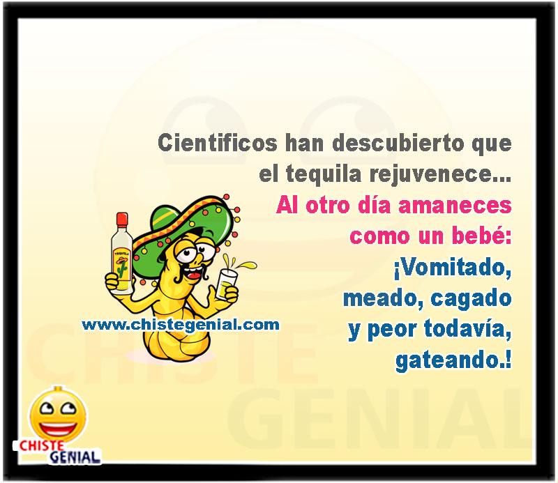 Científicos han descubierto que el tequila rejuvenece… Al otro día amaneces como un bebé: ¡Vomitado, meado, cagado y peor todavía, gateando.!