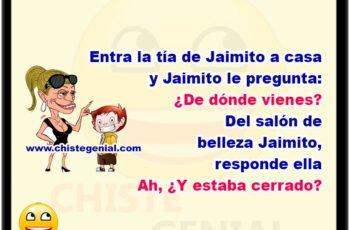 """Entra la tía de Jaimito a casa y Jaimito le pregunta: ¿De dónde vienes? """"Del tratamiento de belleza"""", responde ella Ah, ¿Y estaba cerrado?"""