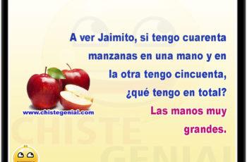 A ver Jaimito, si tengo cuarenta manzanas en una mano y en la otra tengo cincuenta, ¿qué tengo en total? Las manos muy grandes.