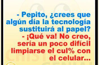 La tecnología sustituirá al papel - Chistes de Pepito