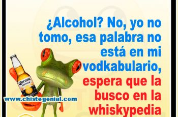 ¿Alcohol? No, yo no tomo, esa palabra no está en mi vodkabulario, espera que la busco en la whiskypedia