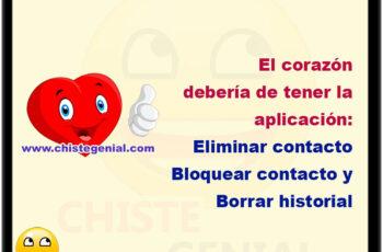 El corazón debería de tener la aplicación: Eliminar contacto Bloquear contacto y Borrar historial