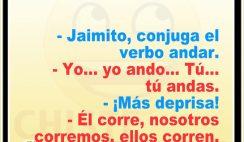 Chistes de Jaimito divertidos - Jaimito conjuga el verbo andar