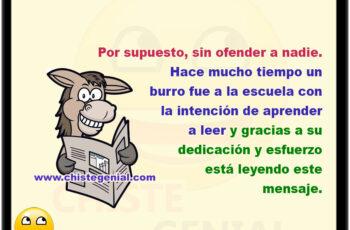 Por supuesto, sin ofender a nadie. Hace mucho tiempo un burro fue a la escuela con la intención de aprender a leer, y gracias a su dedicación y esfuerzo está leyendo este mensaje.