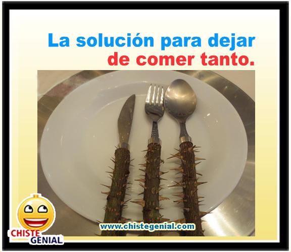 chiste corto - la solución de para no comer tanto