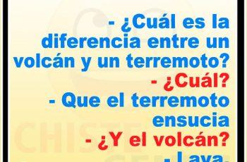 Chistes cortos - ¿ Cuál es la diferencia entre un volcán y un terremoto ?