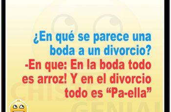 Chistes cortos - ¿ En qué se parece una boda a un divorcio ?