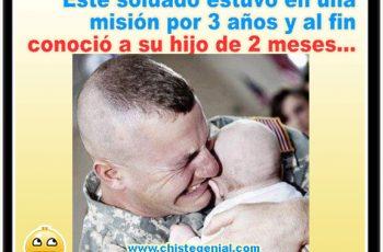 Chistes gráficos - Soldado conoce a su hijo de dos meses