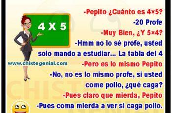 Pepito, ¿ Cuánto es 4×5 ?