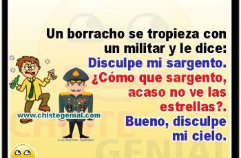 Un borracho se tropieza con un militar