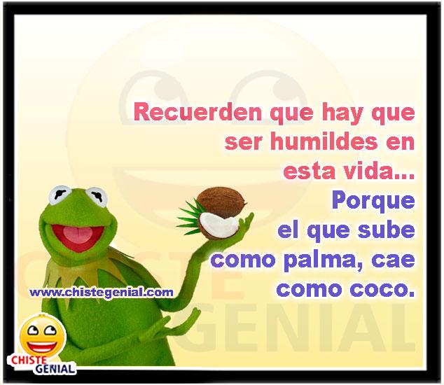 Recuerden que hay que ser humildes en esta vida - Frases y chistes cortos de humildad