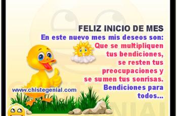 FELIZ INICIO DE MES. En este nuevo mes mis deseos son: Que se multipliquen tus bendiciones, se resten tus preocupaciones y se sumen tus sonrisas. Bendiciones para todos...