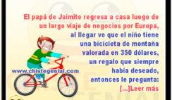 Jaimito paseando en bicicleta nueva - Chistes de Jaimito
