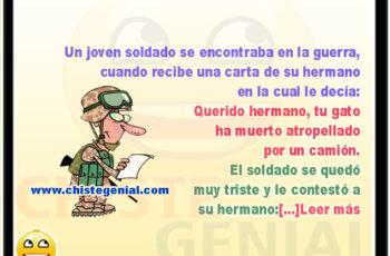 Joven soldado recibe carta de su hermano - Chistes de militares