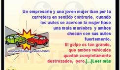 Accidente de tránsito de empresario y joven mujer - Chistes