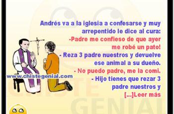 Andrés confesando el robo de un pato - Chistes de curas y monjas