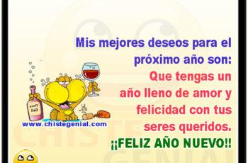 Mis mejores deseos para el próximo año son: Que tengas un año lleno de amor y felicidad con tus seres queridos. ¡¡FELIZ AÑO NUEVO!!