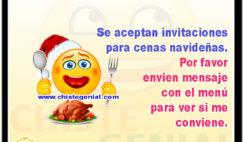 Se aceptan invitaciones para cenas navideñas. Por favor envien mensaje con el menú para ver si me conviene.