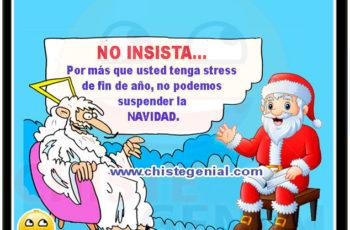 NO INSISTA... Por más que usted tenga stress de fin de año, no podemos suspender la NAVIDAD. - Chistes navideños