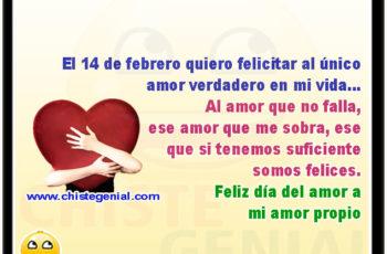 El 14 de febrero quiero felicitar al único amor verdadero en mi vida... Al amor que no falla, ese amor que me sobra, ese que si tenemos suficiente somos felices. Feliz día del amor a mi amor propio.