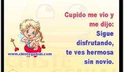 Cupido me vio y me dijo: Sigue disfrutando, te ves hermosa sin novio.