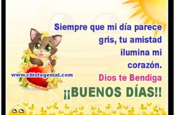 Siempre que mi día parece gris, tu amistad ilumina mi corazón. Dios te Bendiga. ¡¡BUENOS DÍAS!!