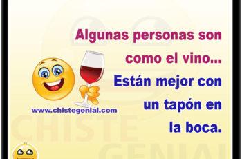 Algunas personas son como el vino... Están mejor con un tapón en la boca.